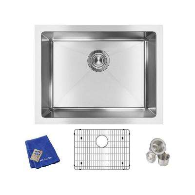Crosstown Undermount Stainless Steel 24 in. Single Bowl Kitchen Sink with Bottom Grid and Drain