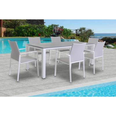 Sense White 7-Piece Aluminum Outdoor Dining Set with Sling Set in Mouse Grey