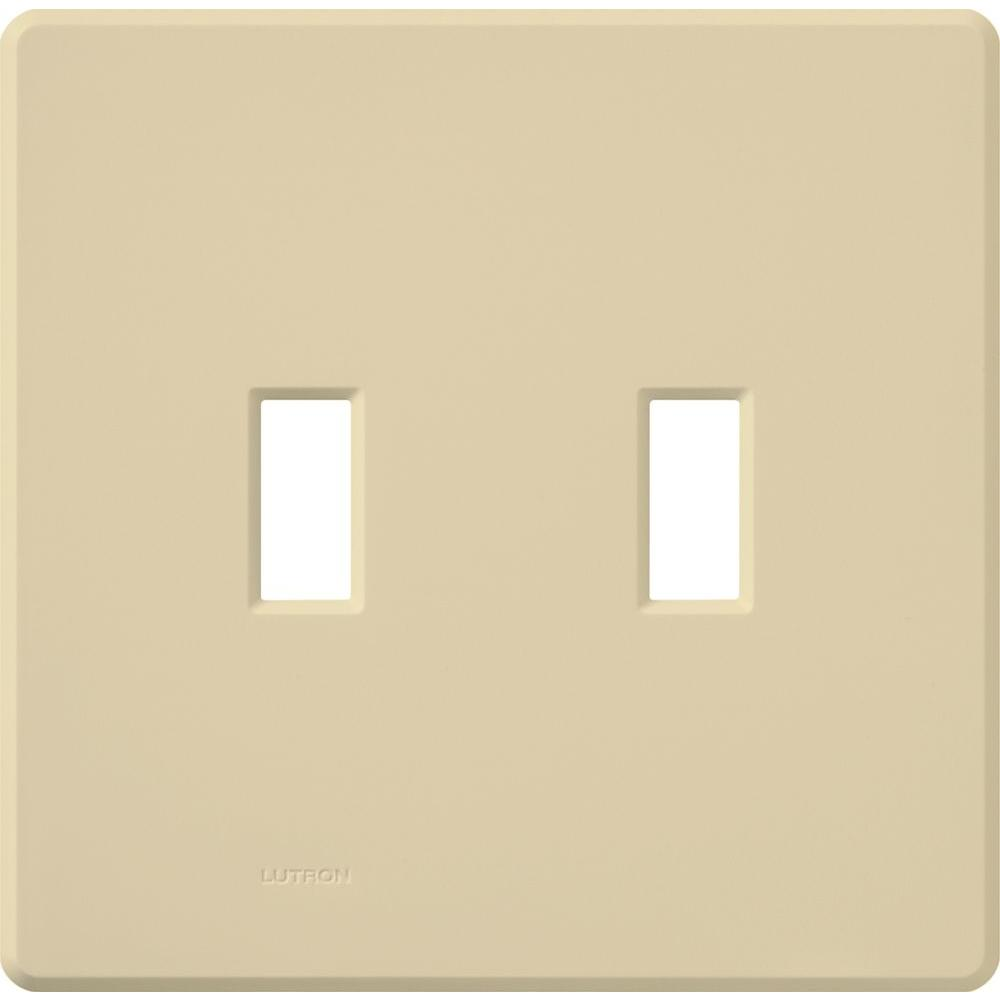 Lutron Fassada 2 Gang Wallplate for Toggle-Style Dimmers and Switches, Ivory