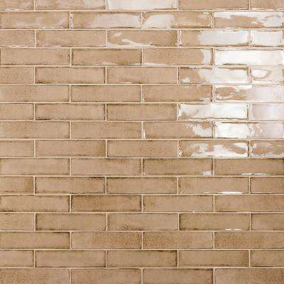 Moze Taupe 3 in. x 12 in. 9mm Ceramic Subway Wall Tile Sample