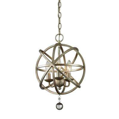 Royal 3-Light Antique Silver and Clear Crystal Pendant