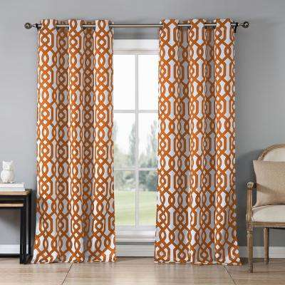 Ashmury 38 in. x 84 in. L Polyester Blackout Curtain Panel in Orange (2-Pack)