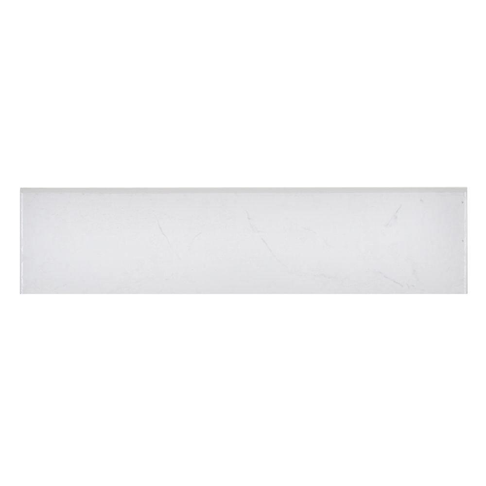 Merola Tile Pichet Solo Branco 3-1/8 in. x 13-1/8 in. Ceramic Floor and Wall Bullnose Trim Tile