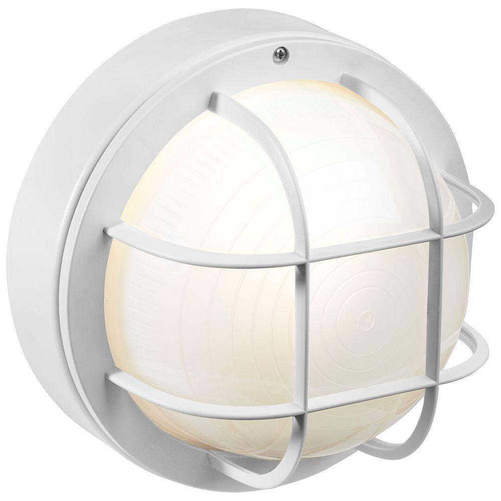 White Outdoor Incandescent Round Nautical Flushmount With Grille