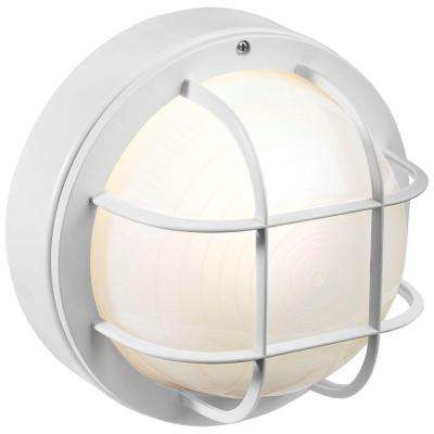 8 in. White Outdoor Incandescent Round Nautical Flushmount with Grille