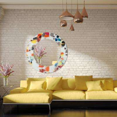 "48 in. x 48 in. ""Party"" Round Beveled Mirror on Free Floating Reverse Printed Tempered Art Glass"