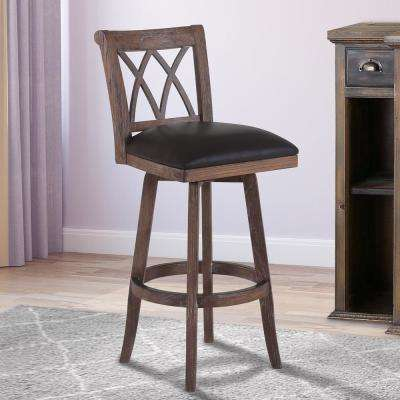 Sonoma 26 in. Brown Faux Leather and Brown Wood Finish Swivel Barstool