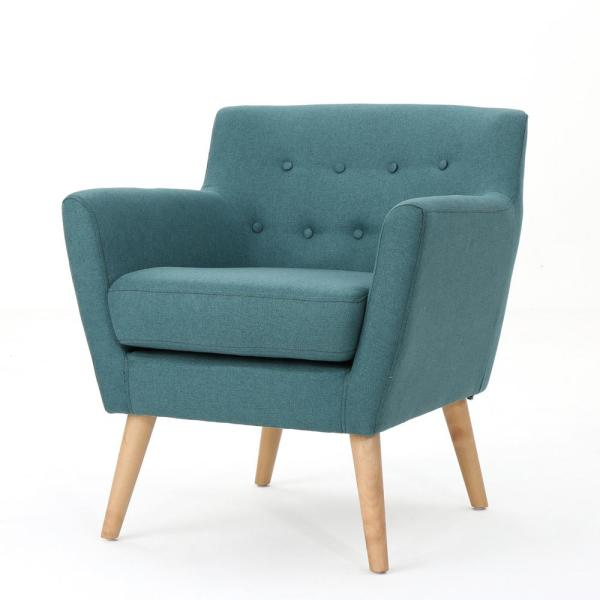 Meena Mid-Century Modern Button Back Dark Teal Fabric Club Chair