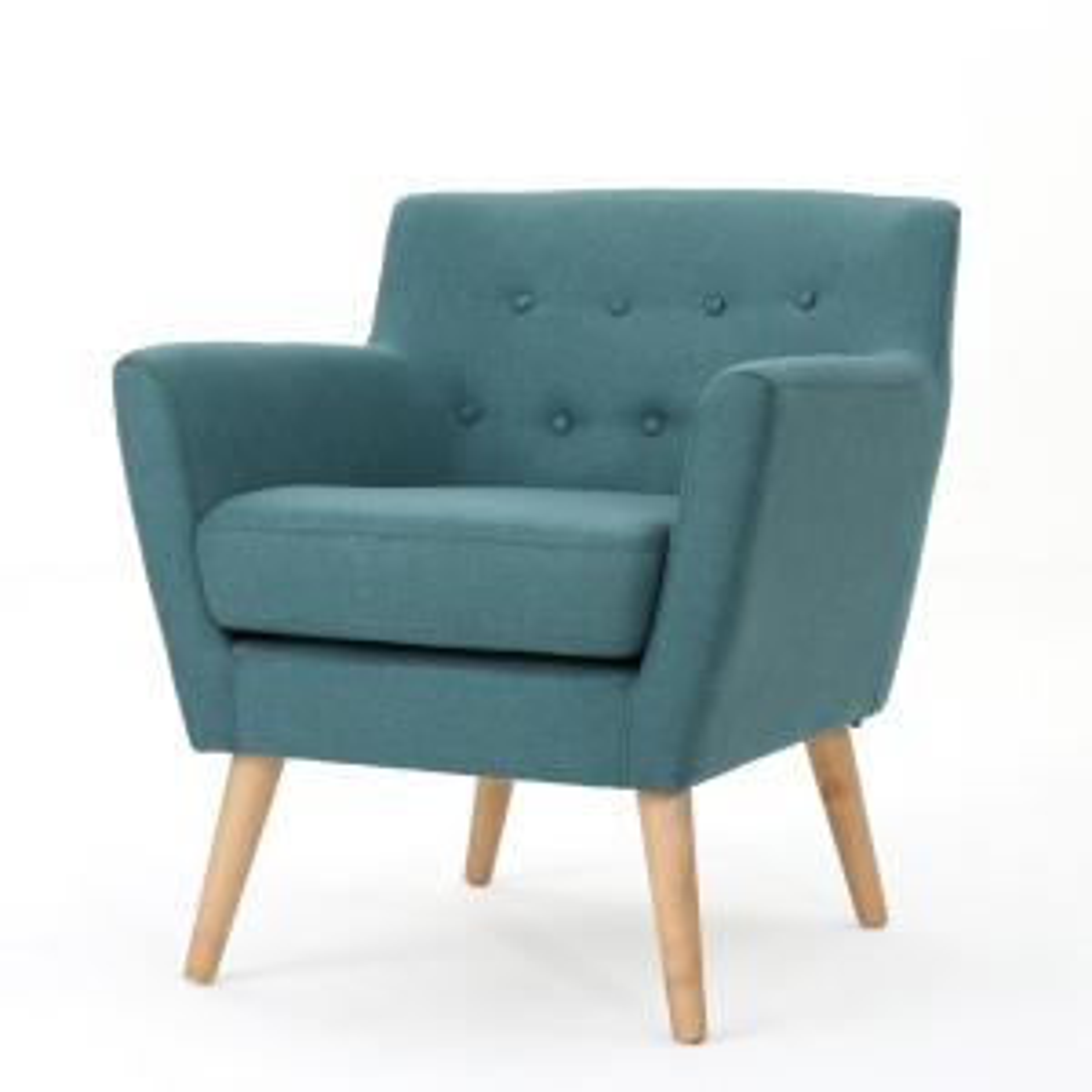 Meena Mid-Century Modern Button Back Dark Teal Fabric Club Chair