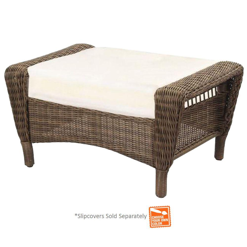 Hampton Bay Spring Haven Grey Wicker Outdoor Patio Ottoma...