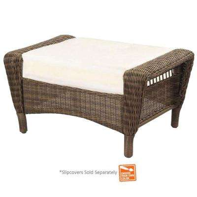 Spring Haven Grey Wicker Outdoor Patio Ottoman with Cushions Included, Choose Your Own Color
