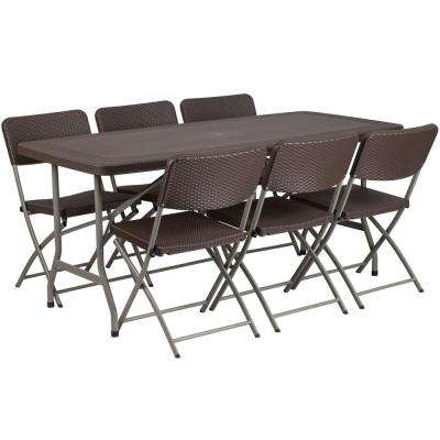 67.5 in. Brown Plastic Tabletop Plastic Seat Folding Table and Chair Set