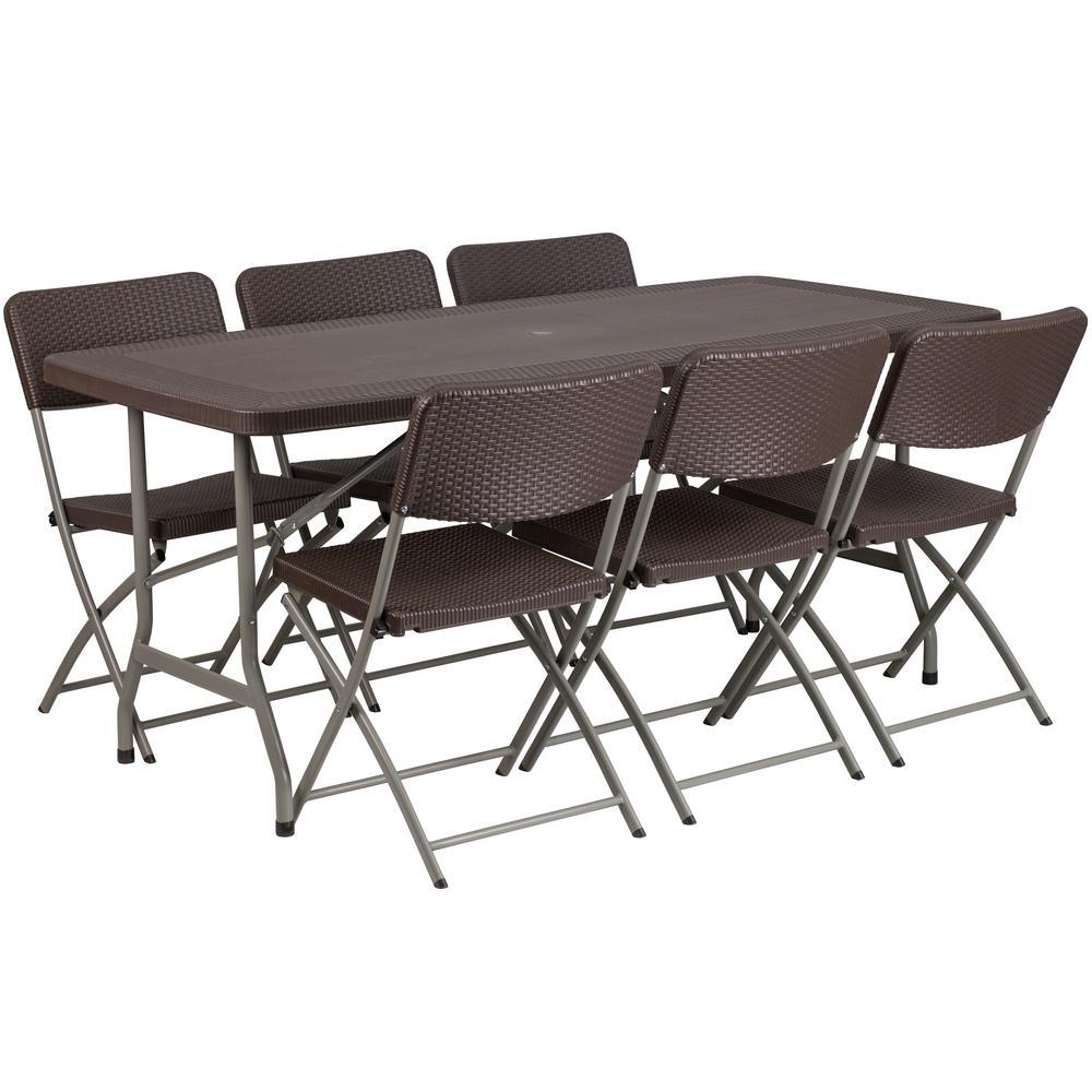 Marvelous 67 5 In Brown Plastic Tabletop Plastic Seat Folding Table And Chair Set Dailytribune Chair Design For Home Dailytribuneorg