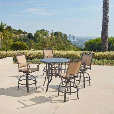 Tuscan Estate 5 Piece Aluminum Outdoor Bar Height Dining Set
