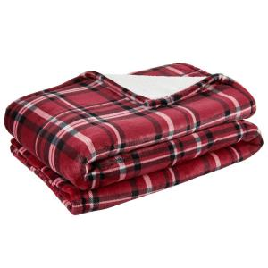 Home Decorators Collection Oversized Plush Red Plaid Sherpa Throw Blanket
