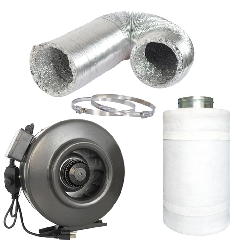 188 CFM 4 in. Centrifugal Inline Duct Fan with Carbon Filter
