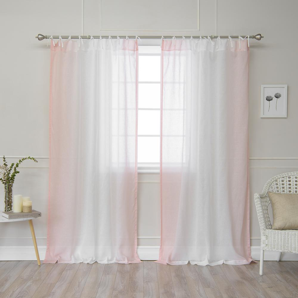 Best Home Fashion 84 In L Pink Faux Linen Ombre Border Tie Top Curtain