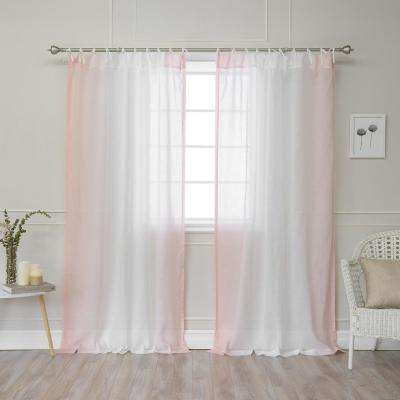 84 in. L Pink Faux Linen Ombre Border Tie Top Curtain (2-Pack)