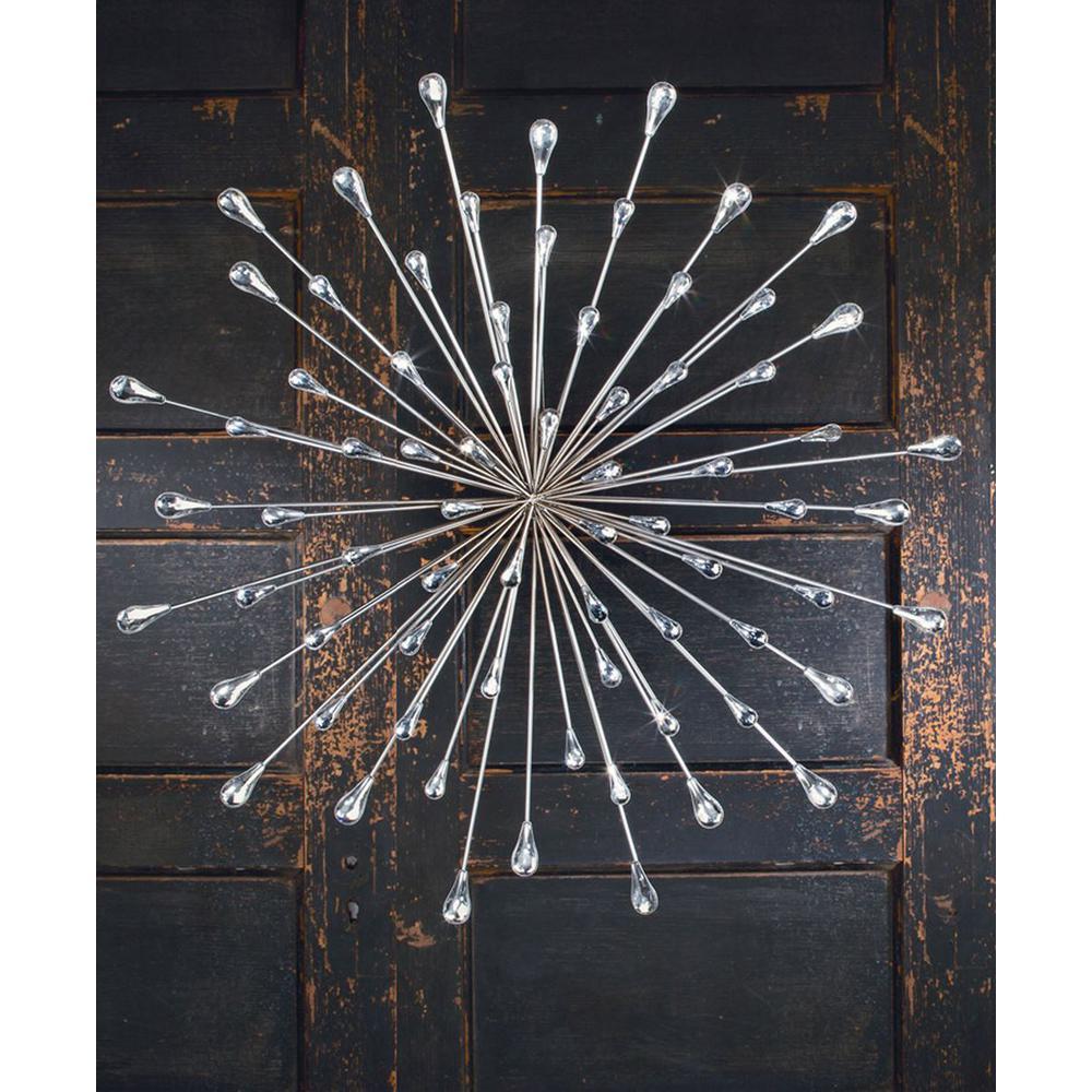 Round Metal Silver Starburst Wall Decor