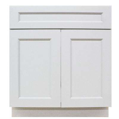 Modern Craftsman - Ready to Assemble 30x34.5x24 in. Sink Base Cabinet with 2-Door 1 Drawer in Satin White