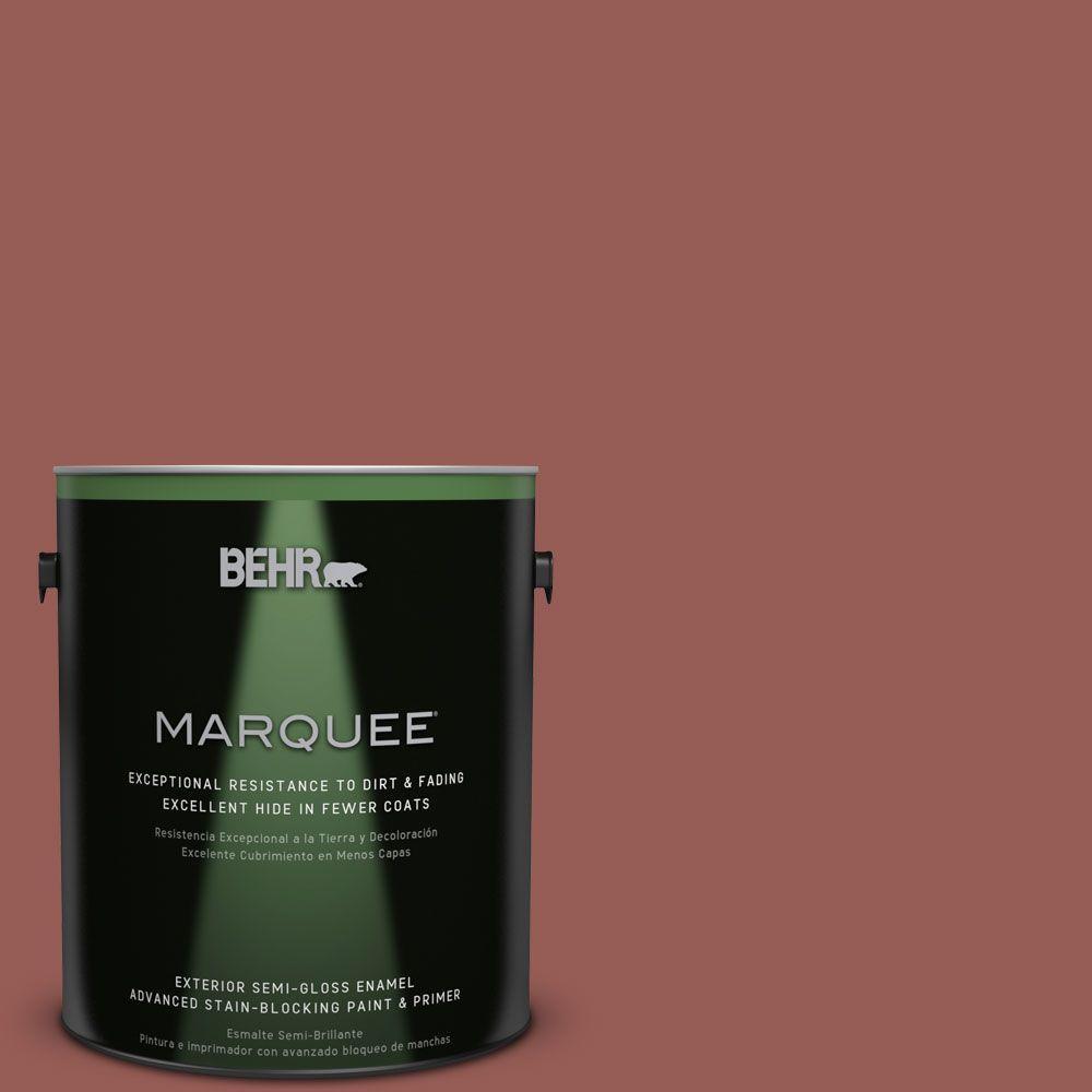 BEHR MARQUEE 1-gal. #ECC-34-3 Terra Cotta Sun Semi-Gloss Enamel Exterior Paint