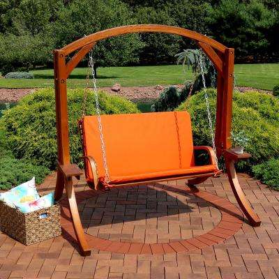 Deluxe 67 in. 2-Person Wooden Porch Swing with Burnt Orange Cushions