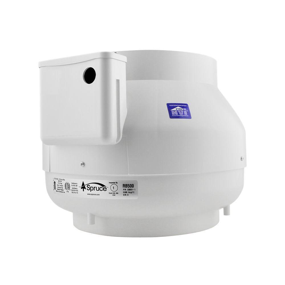 Spruce 500 cfm white powered 10 in inline duct fan 28207 for 4 bathroom fan duct