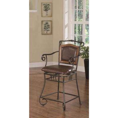 24 in. Brown Leatherette and Bronze Metal Swivel Square Bar Stool