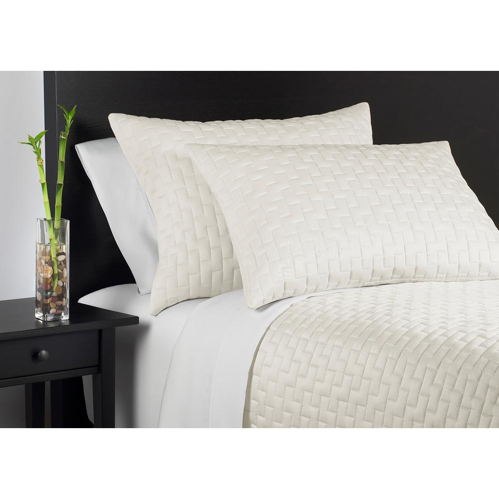 100% Rayon from Bamboo Ivory Queen Coverlet Set