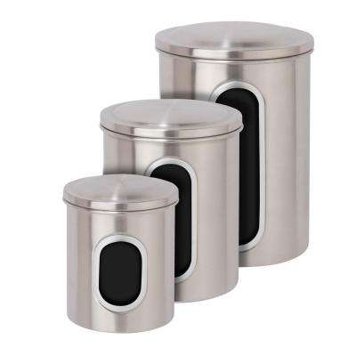 Metal Storage Canisters in Stainless Steel (3-Pack)