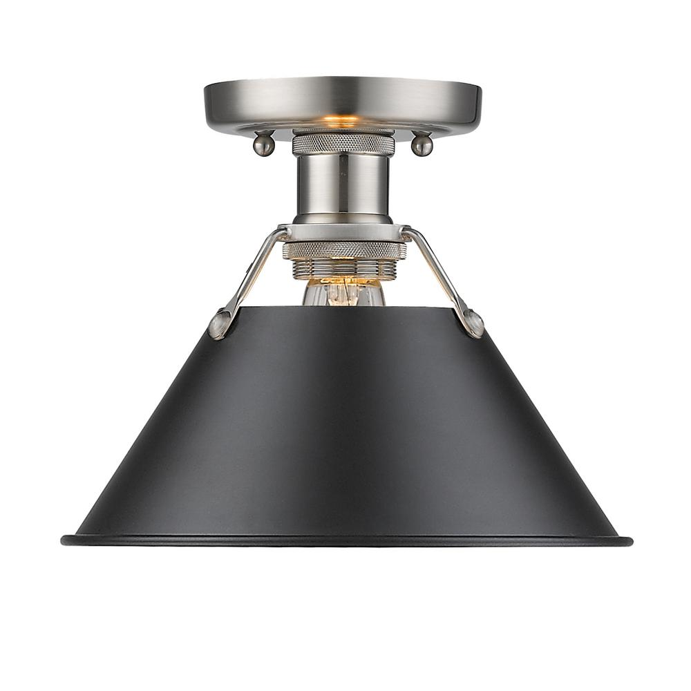 Golden Lighting Orwell PW 1-Light Pewter Flush Mount Light