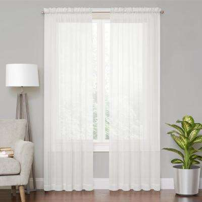 Voile White Sheer Window Curtain - 59 in. x 108 in. L