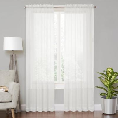 Voile White Sheer Window Curtain - 59 in. x 120 in. L