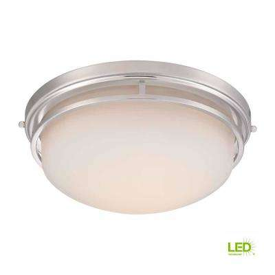 15 in. Satin Nickel LED Flush Mount with Frosted Glass
