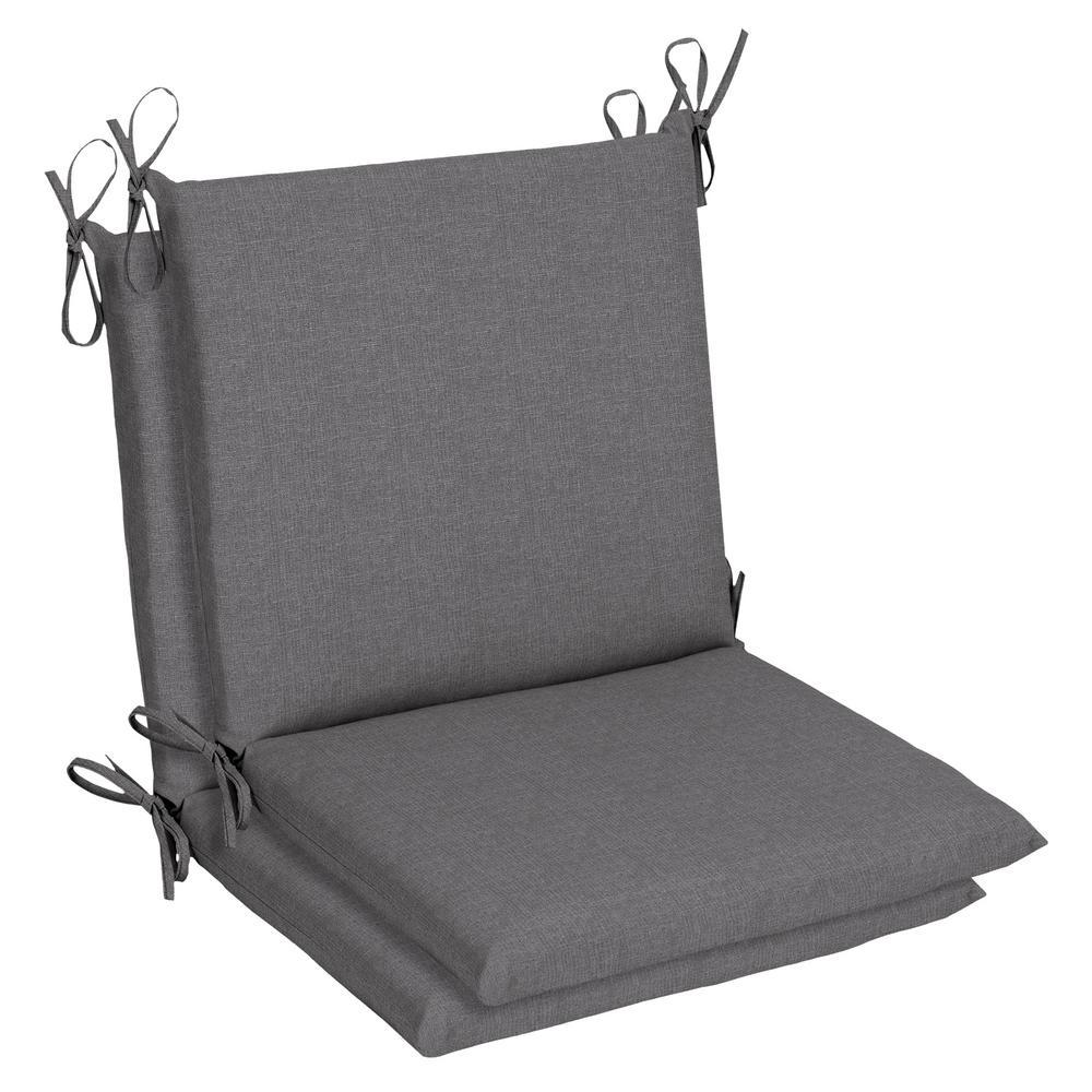 19 x 36 Sunbrella Cast Slate Mid Back Outdoor Dining Chair Cushion (2-Pack)