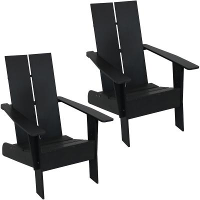 Carnlough Black Outdoor Modern Adirondack Patio Chair (Set of 2)