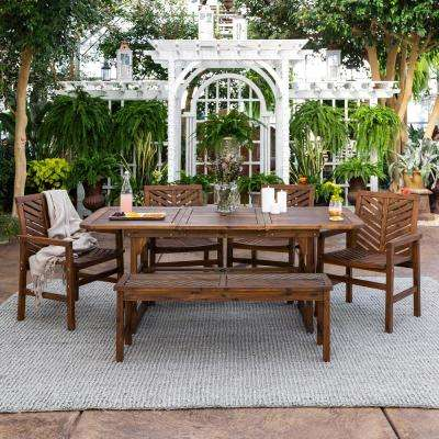 Dark Brown 6-Piece Extendable Wood Outdoor Patio Dining Set
