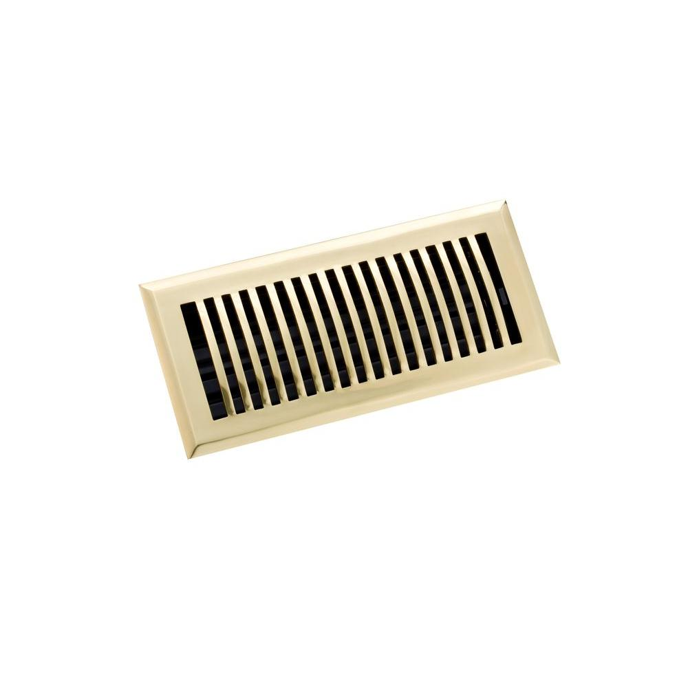 Zoroufy 4 in. x 10 in. Classic Floor Register, Polished Brass