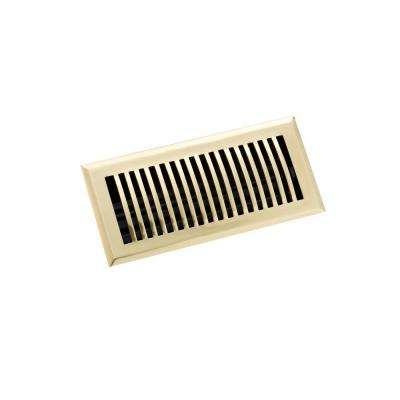 4 in. x 10 in. Classic Floor Register, Polished Brass
