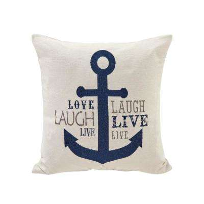 Live Laugh Love Anchor Navy and Ivory Decorative Pillow