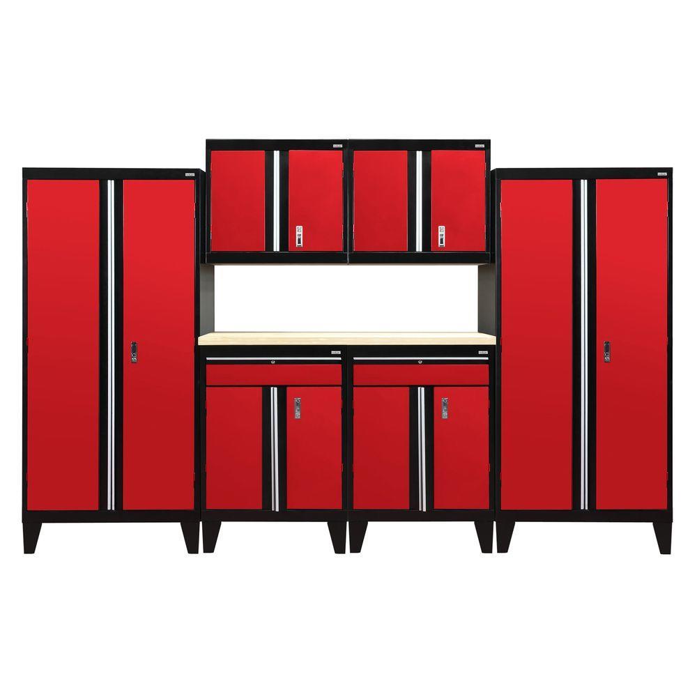 79 in. H x 144 in. W x 18 in. D Modular Garage Welded Steel Cabinet Set in Black/Red (7-Piece)