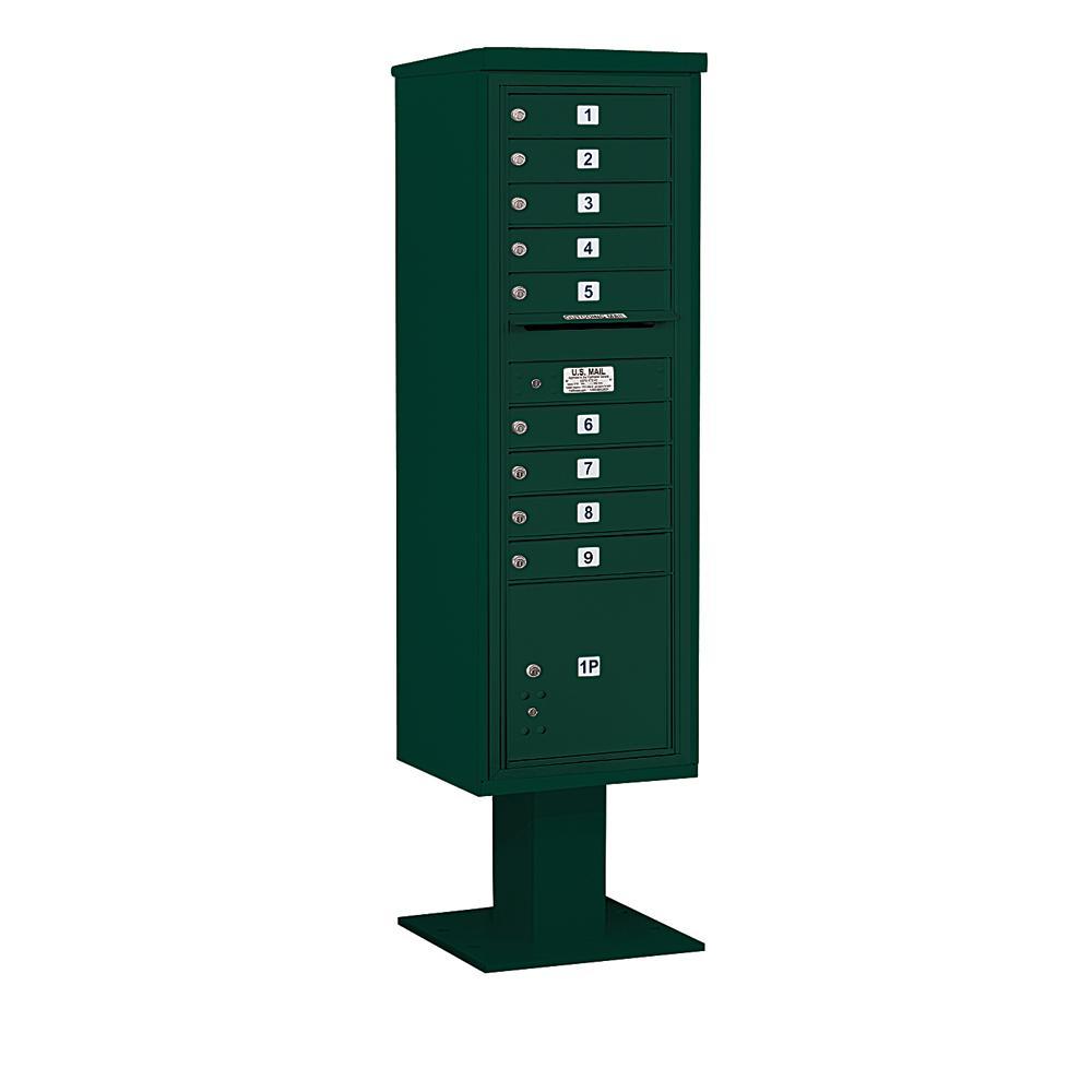 3400 Horizontal Series 9-Compartment 1-Parcel Locker Pedestal Mount Mailbox