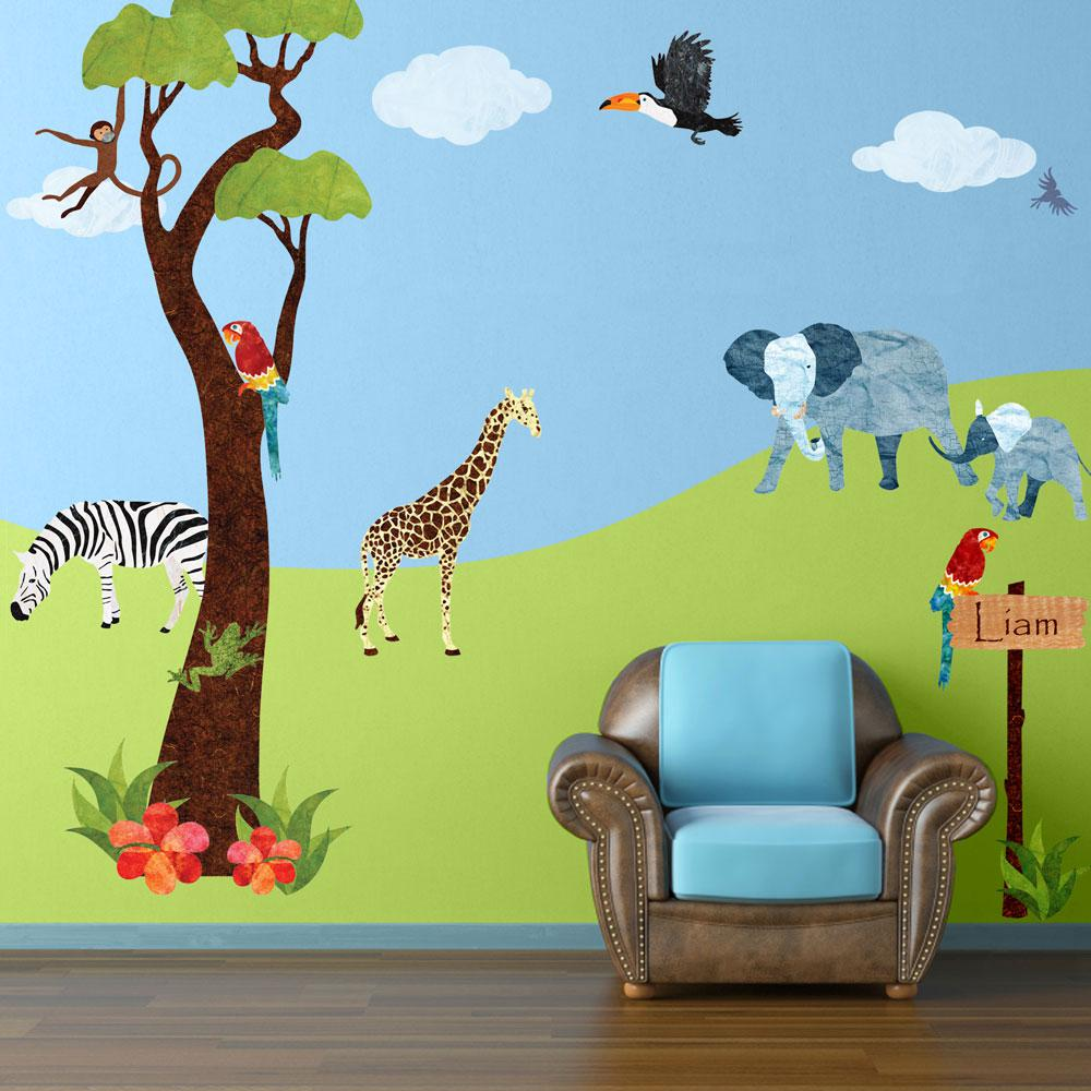 35aef44824e7 My Wonderful Walls Safari Multi Peel and Stick Removable Wall Decals Jungle  Theme Wall Mural (