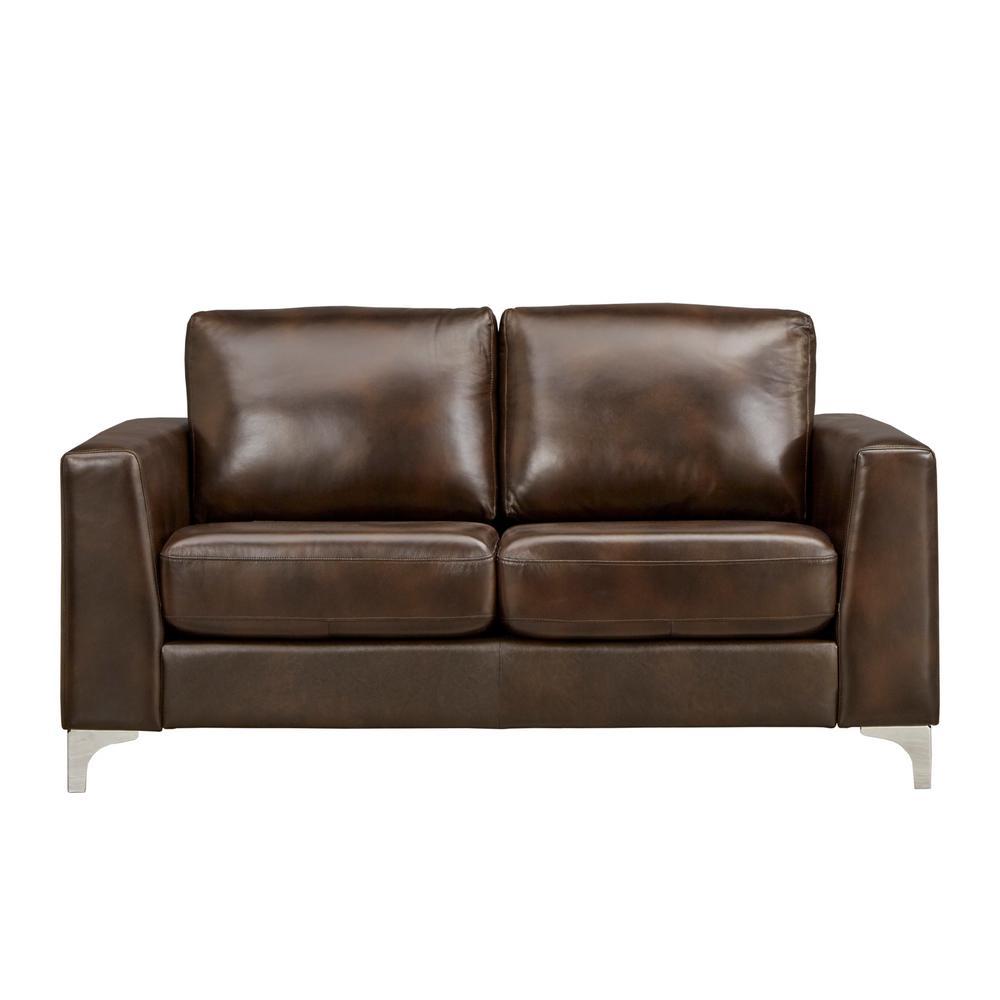 Homesullivan Chocolate Brown Leather Loveseat