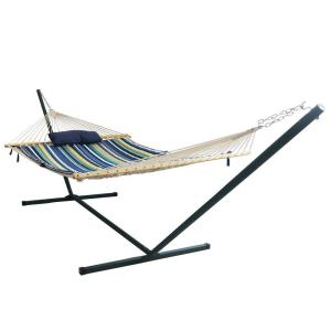 Click here to buy Blue Wave Island Retreat 12 ft. Stainless Steel Arc Hammock Set in Blue by Blue Wave.