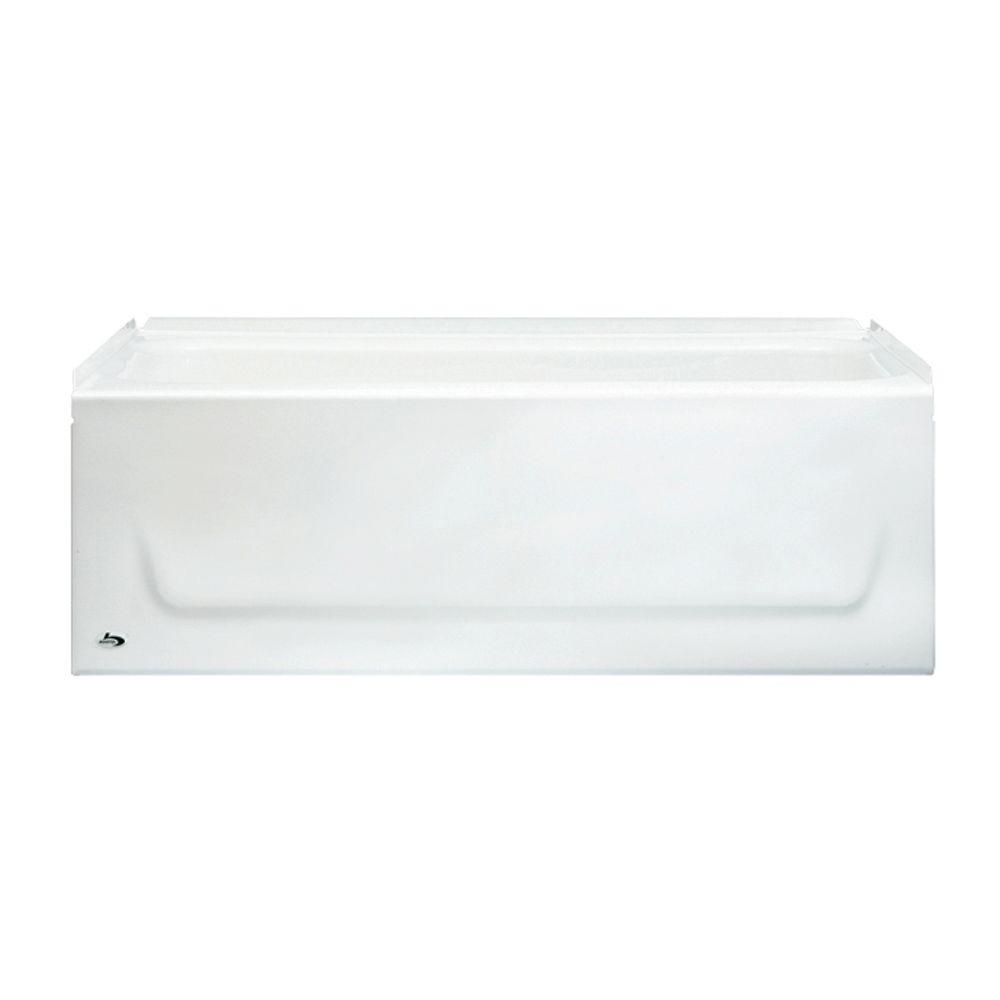 Bootz Industries Kona 54 In. Left Drain Rectangular Alcove Soaking Bathtub  In White