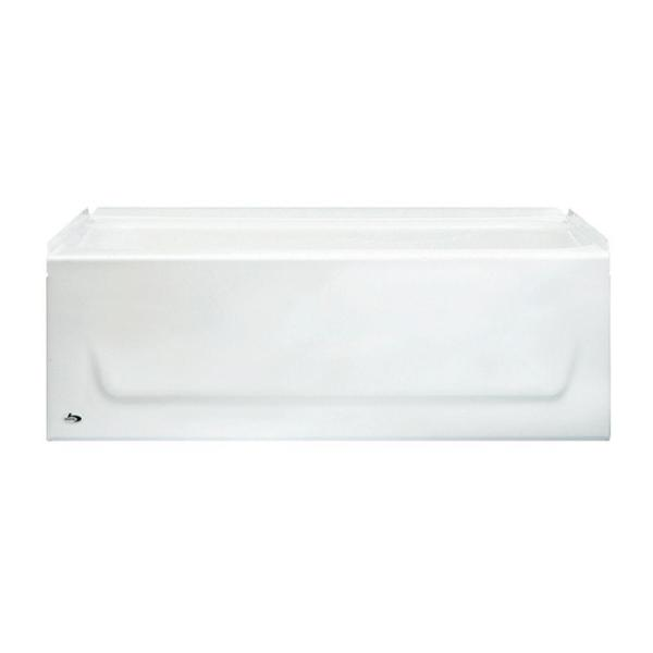 Kona 54 in. Left Drain Rectangular Alcove Soaking Bathtub in White