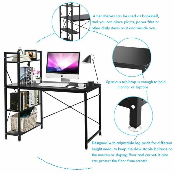Modern 4 Tier Bookcase Shelf Computer Desk PC Study Table Home Office Worksation