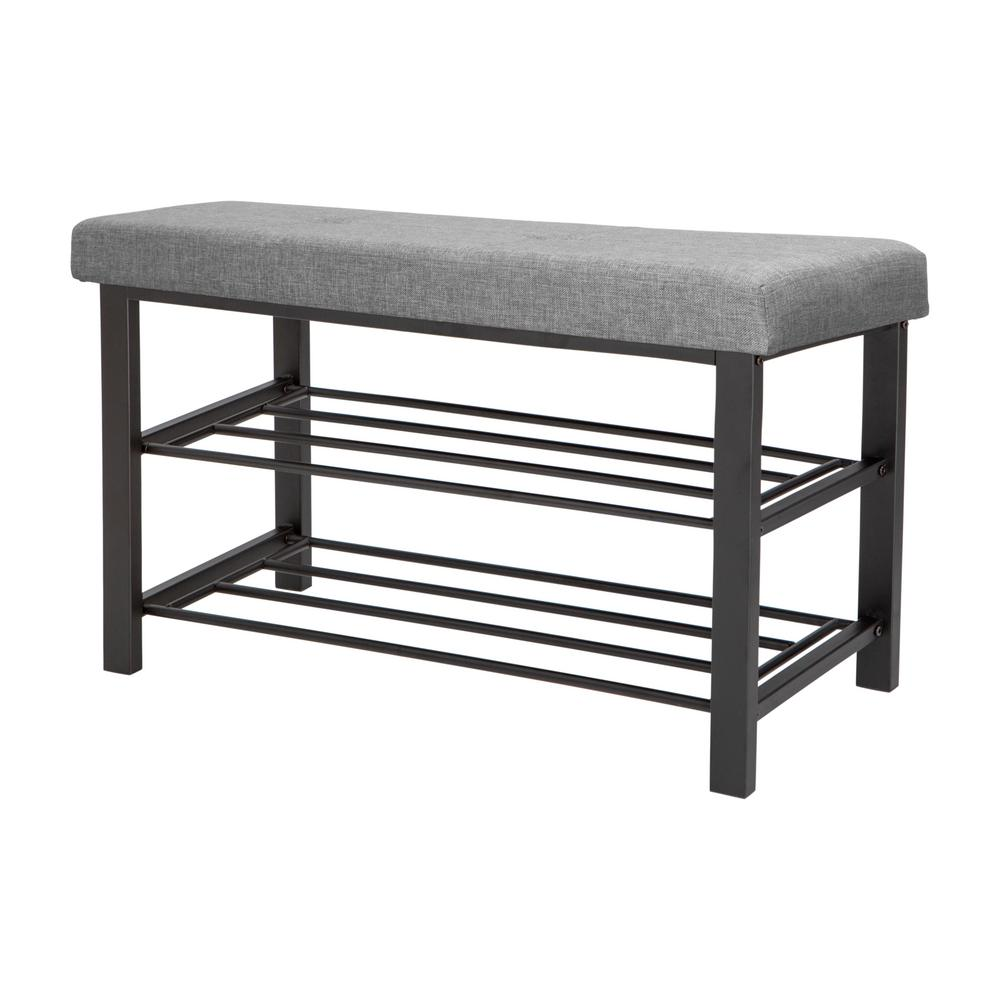 entryway benches with storage organizing | Simplify Entryway Bench with Shoe Storage in Grey-F-0681 ...
