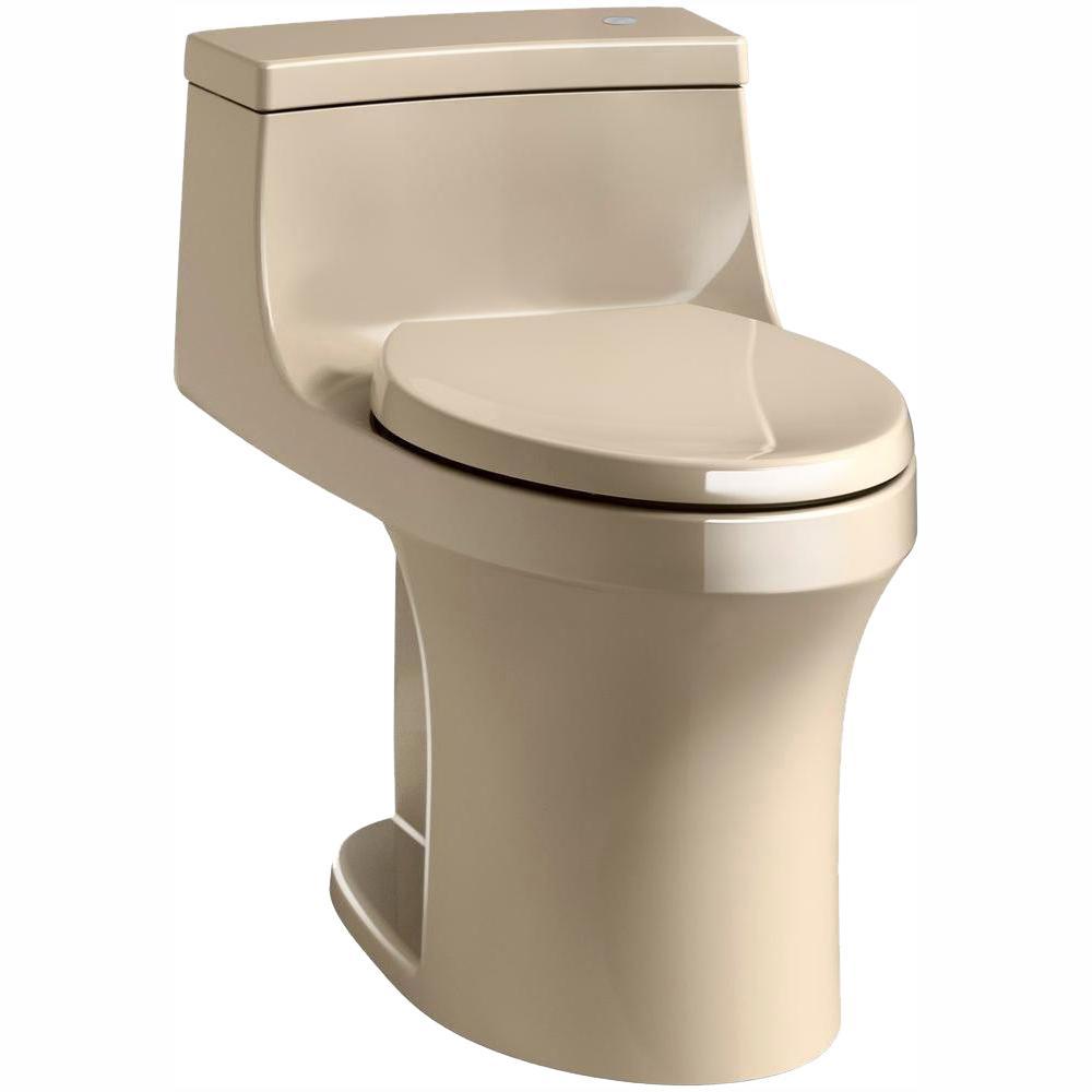 KOHLER San Souci Touchless Comfort Height 1-Piece 1.28 GPF Single Flush Elongated Toilet with AquaPiston Flush in Mexican Sand